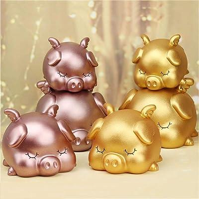 Gsdviyh36 Sleeping Pig Piggy Bank Children Money Saving Deposit Box Desktop Ornament Gift, Safe Coin Bank,Sturdy Money Saving Jar, Make Saving a Habit Golden L: Kitchen & Dining