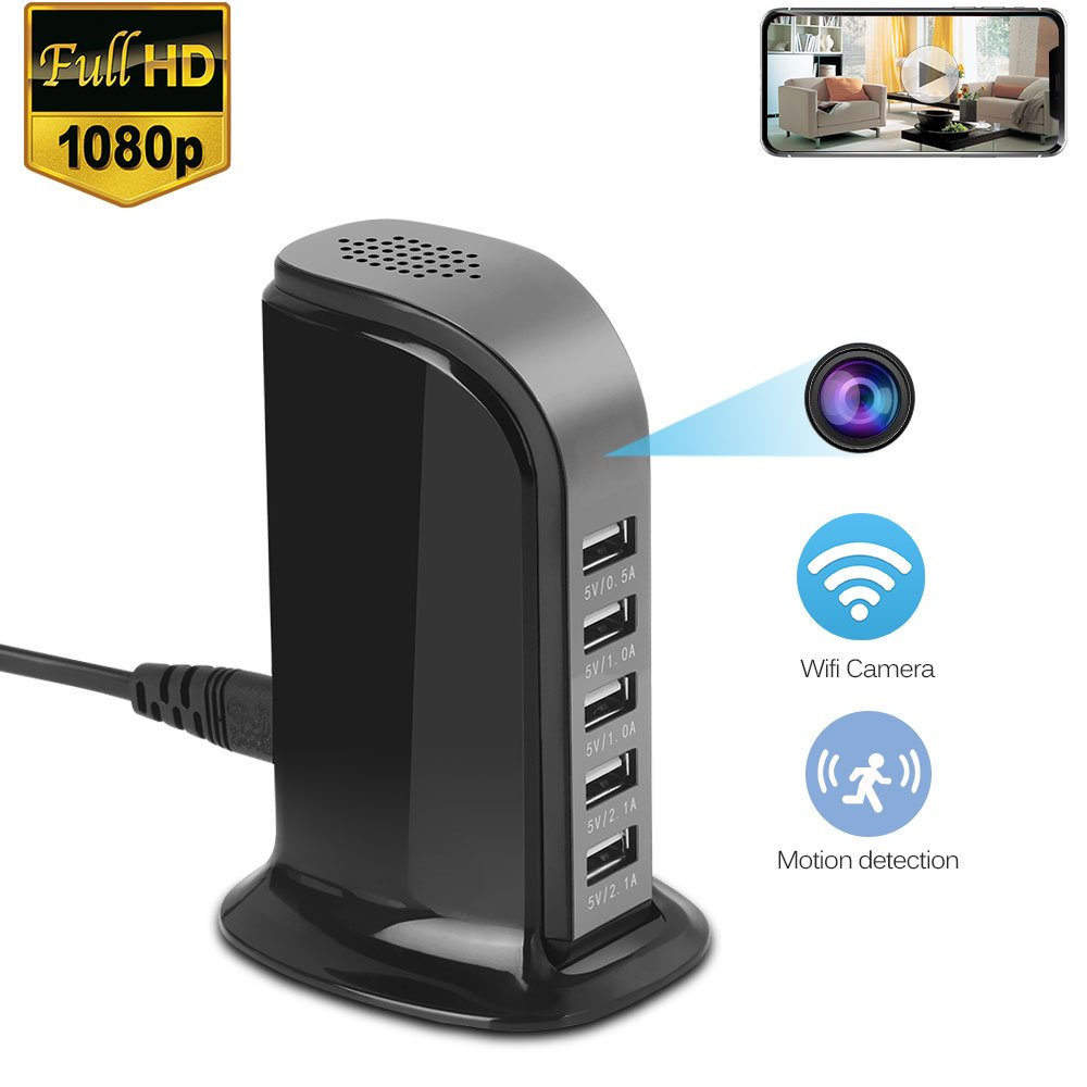 WiFi Spy Hidden USB Charger Camera-ESLIBAI Desktop Charging Station 1080P Mini Wireless Nanny Cam with 5-USB Port Plug Motion Detection, Loop Record,Phone Charging and More
