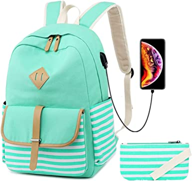 Amazon Com Canvas School Backpack For Girl Casual Stripe Travel