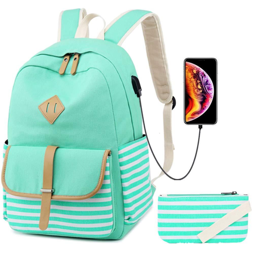 Leichter Schulrucksack aus Segeltuch für Studenten, Schule, Reisen, lässige Tagesrucksäcke für Teenager und Mädchen grün grün One_Größe