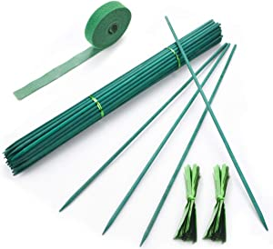 60Pcs Garden Stakes Green Bamboo Sticks Decorative Garden Stakes for Plants, 16Inches Wooden Plant Support Sticks, Small Sign Posting Stickes for Garden with Garden Ties and Nylon Plant Tie Strap