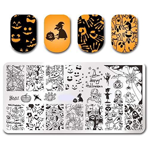 1 Pcs Pumpkin Ghost Skull Nails Art Stamper Plate Manicure Nail Stamps Stamping Plates Kits Perfect Popular Gel Polish Halloween Mermaid Clear Design ()