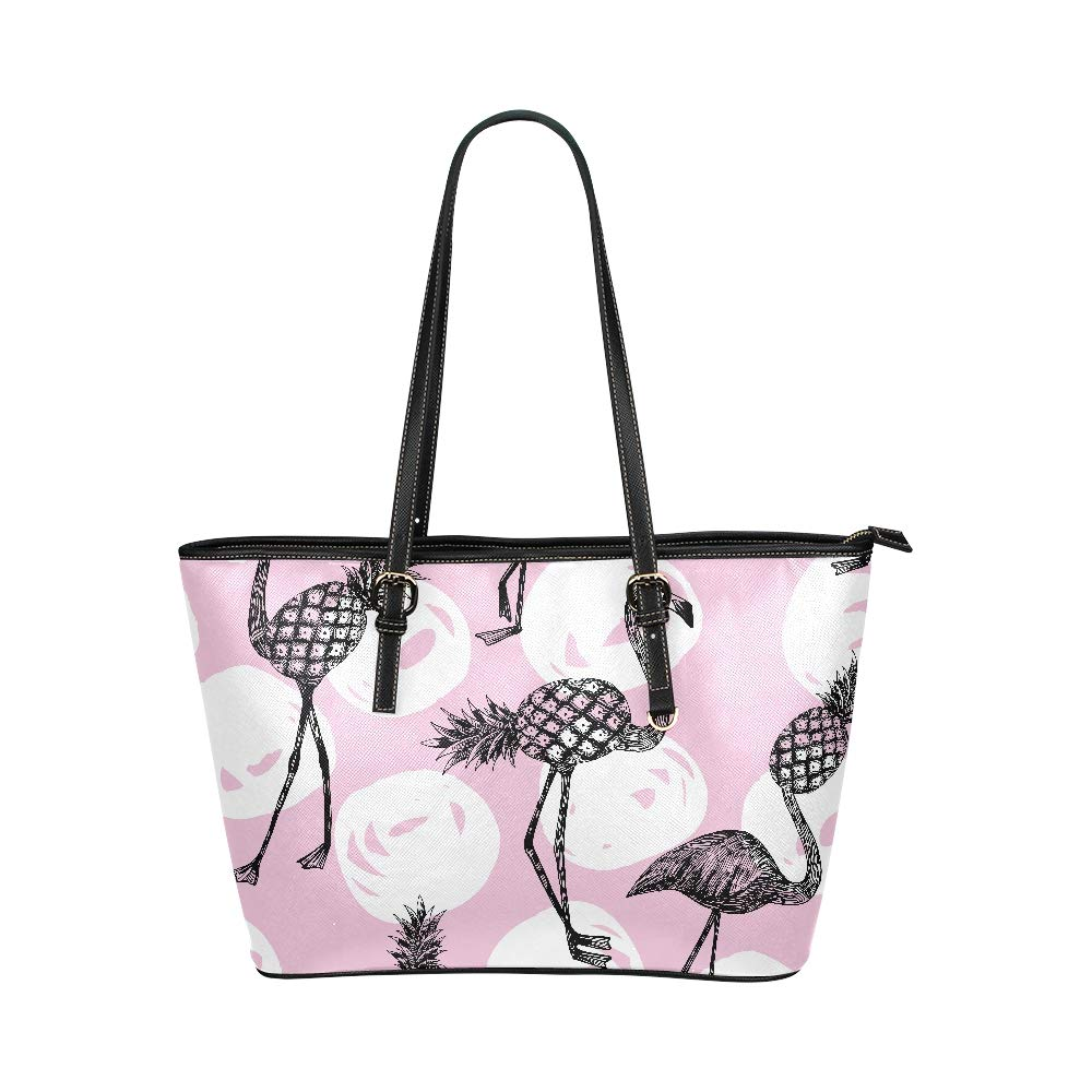 Popular Pink Pineapple With Flamingo Large Soft Leather Portable Top Handle Hand Totes Bags Causal Handbags With Zipper Shoulder Shopping Purse Luggage Organizer For Lady Girls Womens Work