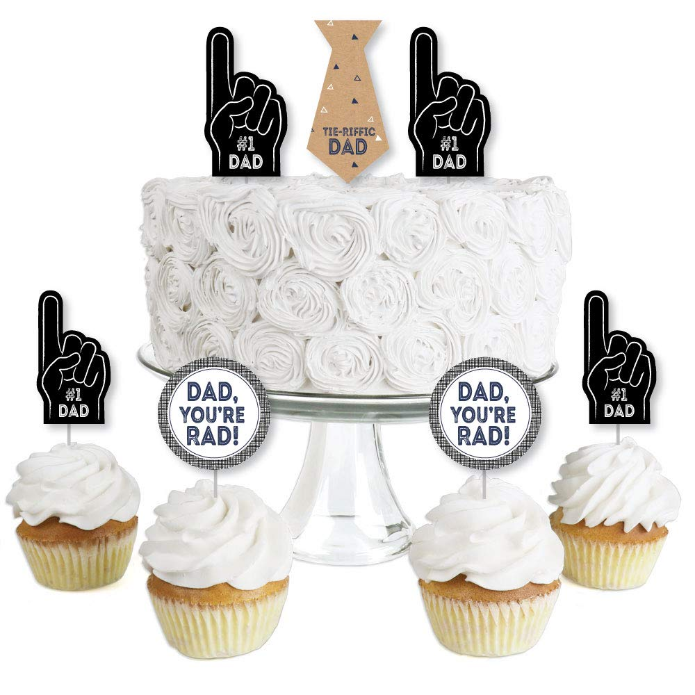 My Dad is Rad Dessert Cupcake Toppers Fathers Day Clear Treat Picks Set of 24