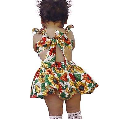 fd8622750475d Oyedens Fille 0 à 18 Mois Vetement Robe Bebe Fille Ete Tournesol Impression  Sangles Robe De Princesse Fille Chic Soirée Robe Enfant Fille Baptême ...