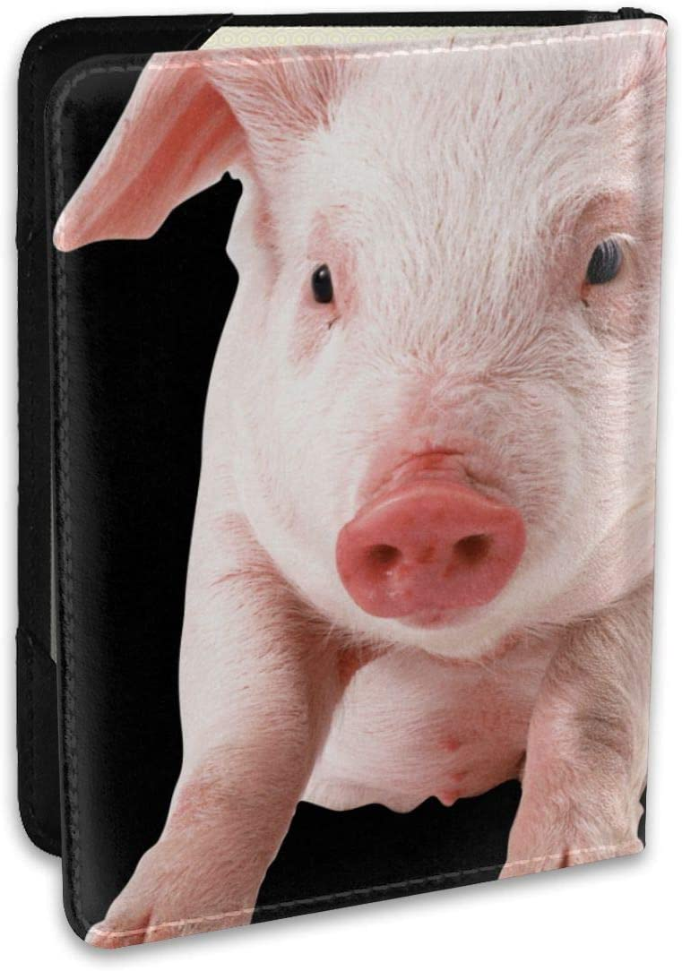 Cute Funny Pig Fashion Leather Passport Holder Cover Case Travel Wallet 6.5 In