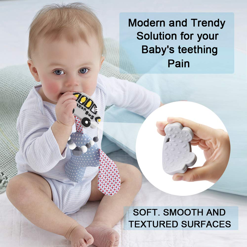Peazon Baby Car Silicone Teething Pain Relief Toy with Pacifier Clip Holder Set for Newborn Babies,BPA Free Food Grade Silicone Teether,Freezer Safe,Neutral for Boy and Girl