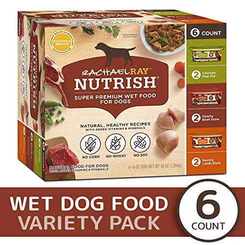 Rachael Ray Nutrish Natural Premium Wet Dog Food, Savory Favorites Variety Pack, 8 Ounce Tub (Pack of 6)