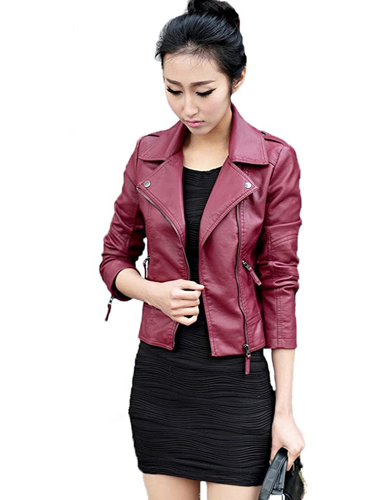 Women's Plus Size Slim Lapel Faux Leather Biker Motorcycle Zipper Jacket Coat