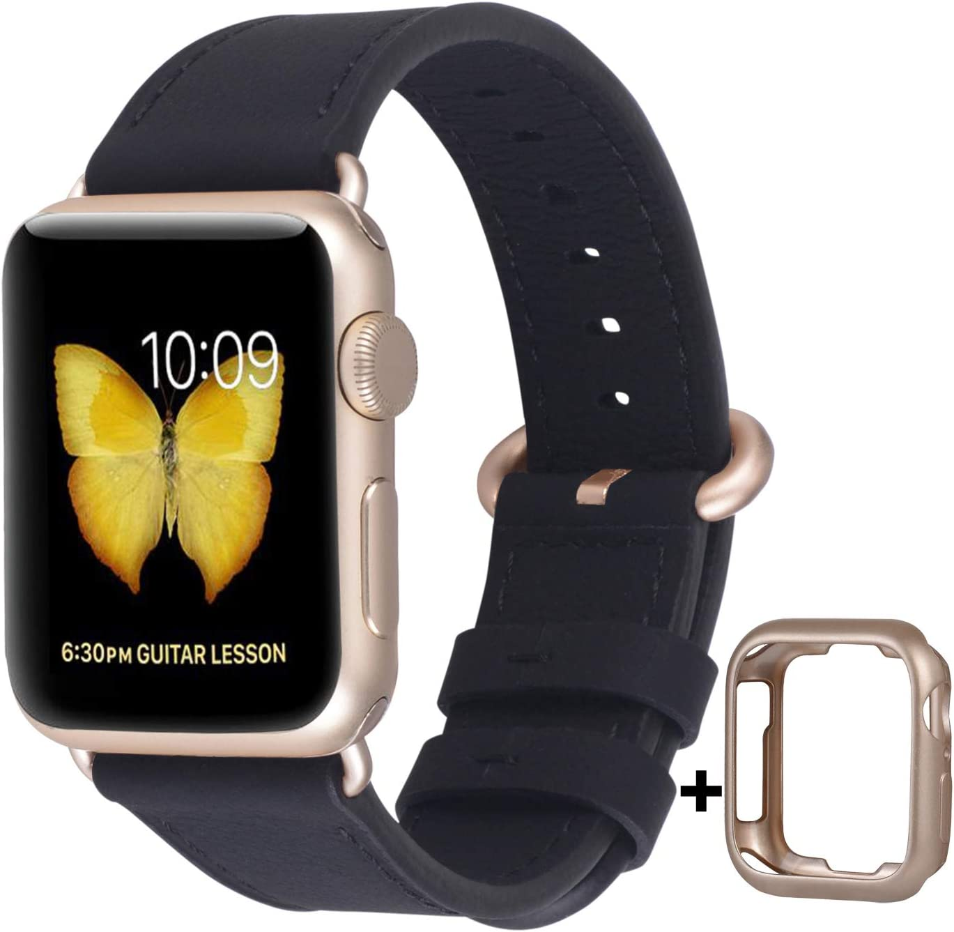 JSGJMY Compatible with Apple Watch Band 38mm 40mm 42mm 44mm Women Men Genuine Leather Replacement Strap for iWatch Series SE 6 5 4 3 2 1 (Black with Champagne Gold Clasp, 38mm/40mm S/M)