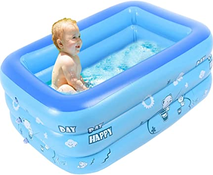 Sealive Blue Kiddie Pool Portable Pools For Kids Inflatable Bathtub Baby Rectangular Swimming Pool 47 24 X 27 56 X 13 7 Blow Up Kid Pools Hard Plastic Water Toys For Outdoor Beach Summer Parties