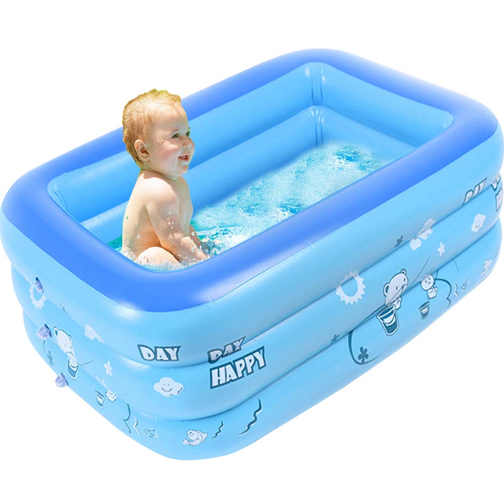 Blue Kiddie Pool Portable Pools for Kids, Sealive Inflatable Bathtub Baby Rectangular Swimming Pool - Blow Up Kid Pools Hard Plastic Water Toys for Outdoor Beach Summer Parties