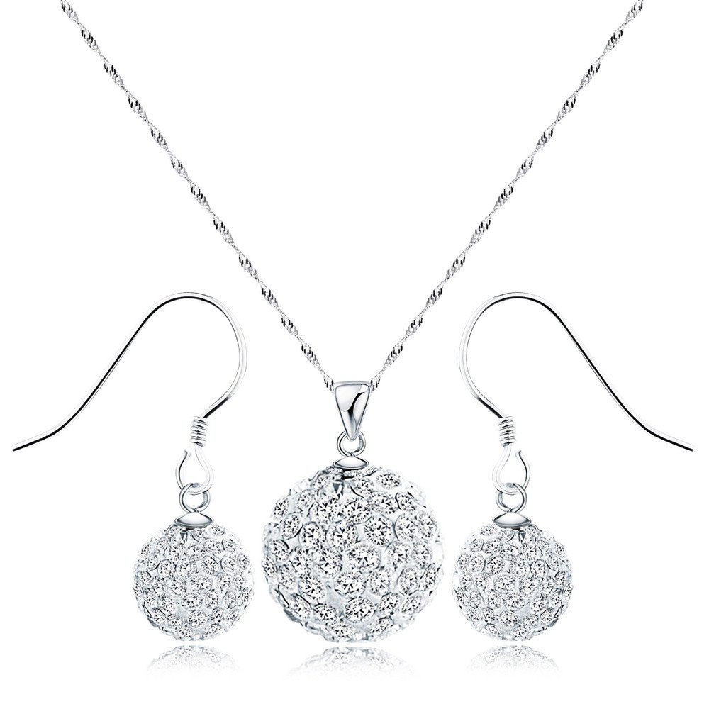 Merdia 925 Sterling Silver Created Crystal Pendant & Earrings Set (White Earring and Necklace)