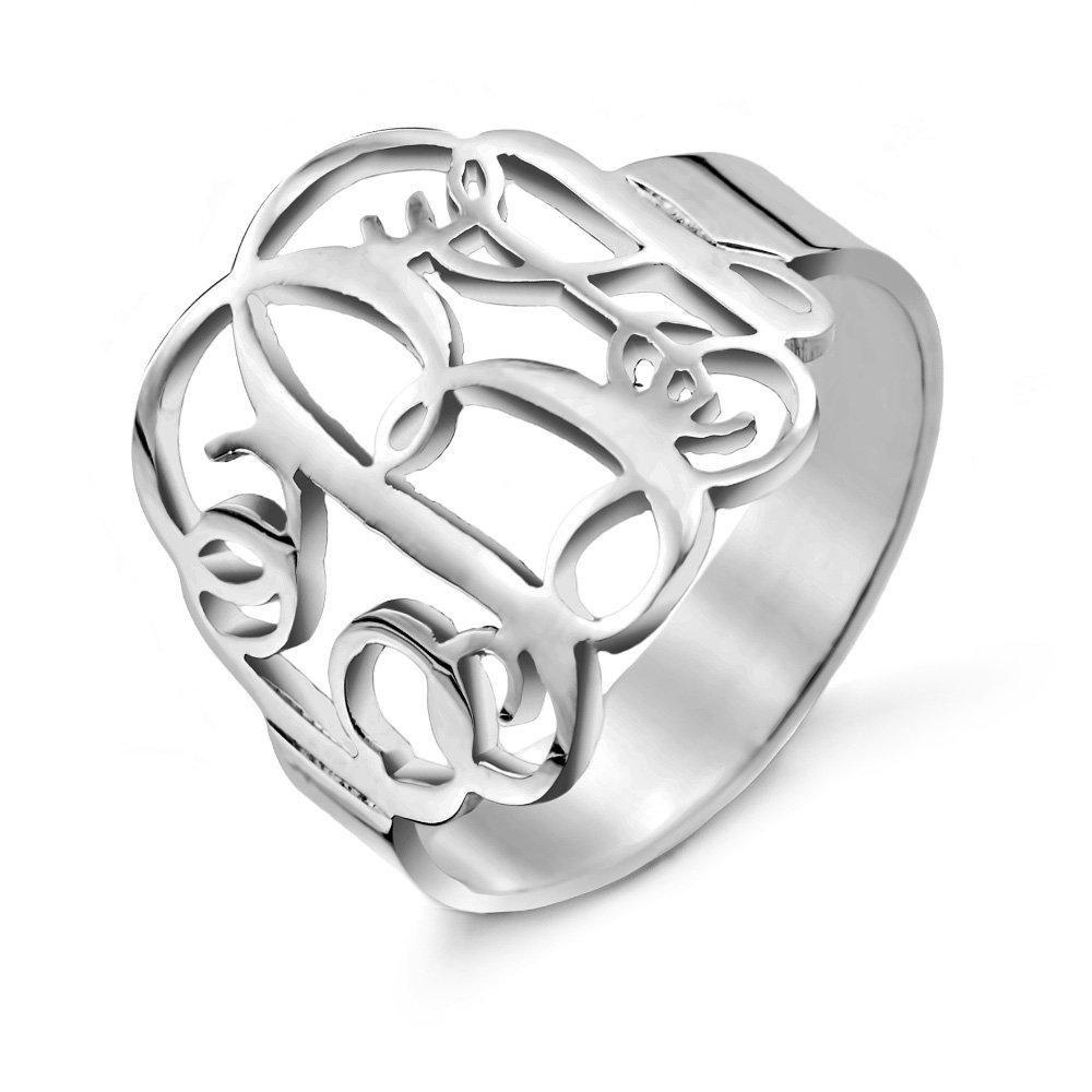 Custom Sterling Silver Fancy Script Monogram Ring, ring sizes 4 to 10