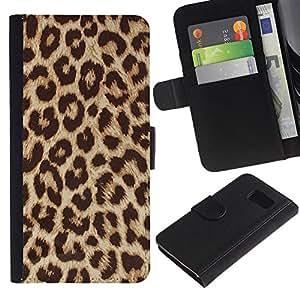 All Phone Most Case / Oferta Especial Cáscara Funda de cuero Monedero Cubierta de proteccion Caso / Wallet Case for Samsung Galaxy S6 // Africa Cat Brown Fur Pattern
