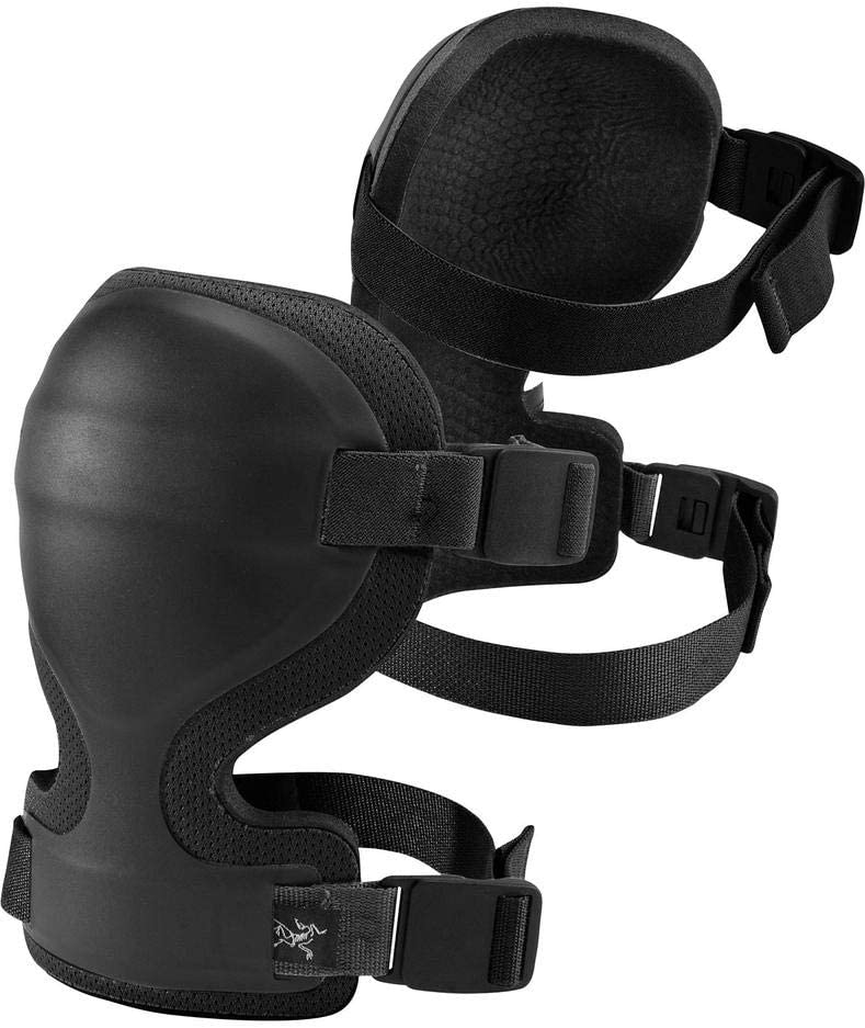 This is an image of a pair of knee pads in black color.