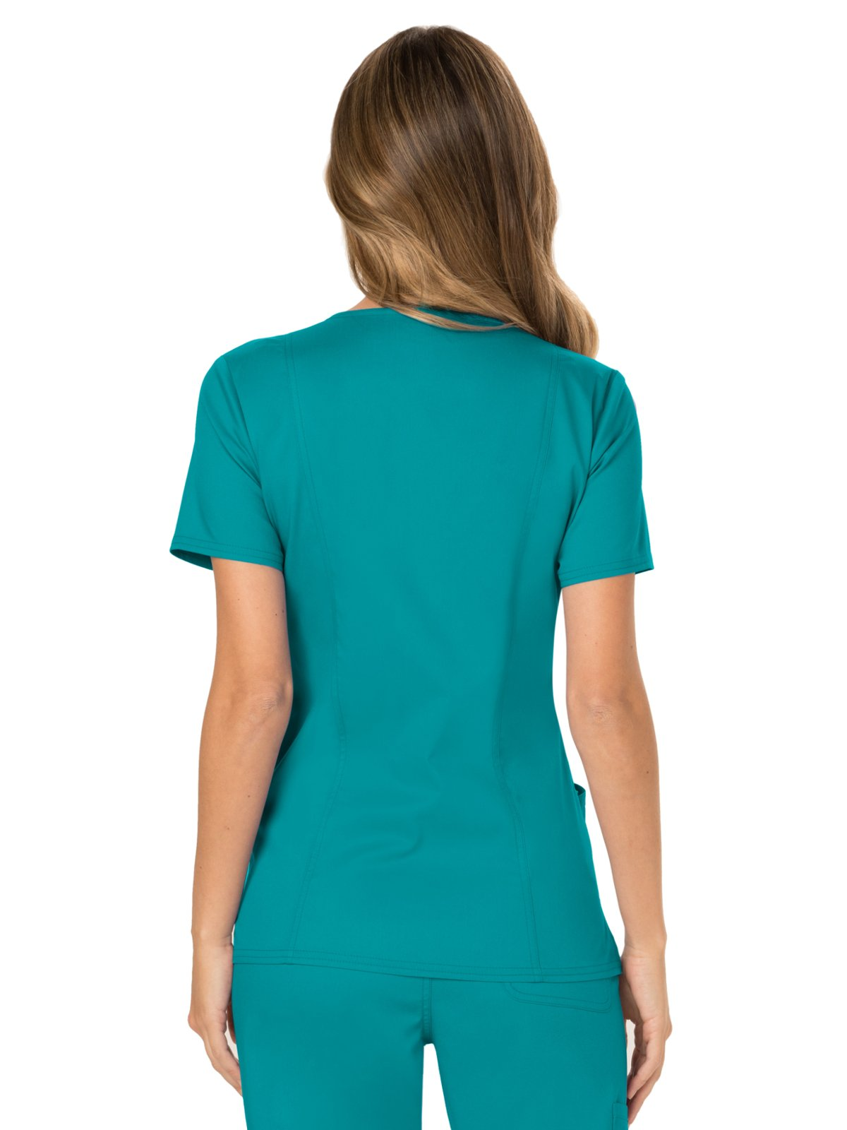 WW Revolution by Cherokee WW610 Women's Mock Wrap Scrub Top, Teal Blue, M by WW Revolution by Cherokee (Image #2)