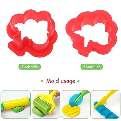 Toyvian 20PCS Kids Smart Dough Tools Sett con Modelos y Moldes para Niños Pequeños (Color