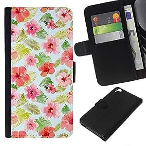 KLONGSHOP // Tirón de la caja Cartera de cuero con ranuras para tarjetas - diseño floral flores modelo de la tela - HTC Desire 820 //