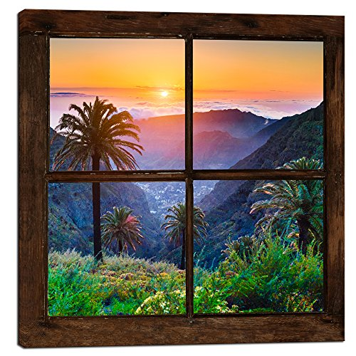 sechars - Canvas Prints Wall Art Vintage Window Frame Style Mountain Sunset with Palm Trees Landscape Picture Wall Decor Stretched Giclee Print Modern Home Decoration Ready to Hang - 24x24 - Palm Tree Window