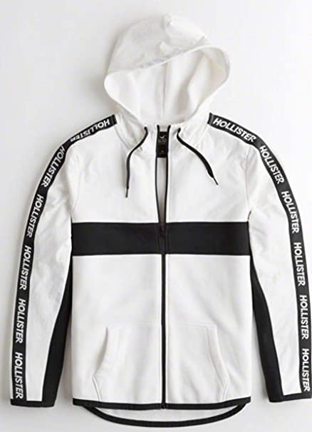 HOLLISTER SOLD OUT LOGO BLACK AND WHITE SIGNATURE SWEATSHIRTHOODIE JACKET. SIZE LARGE. MADE WELL