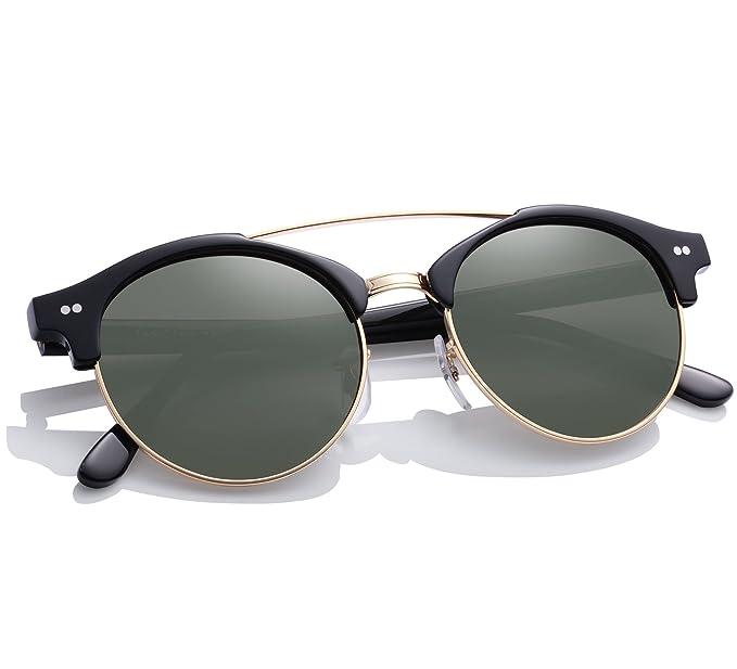 Gafas de Sol Polarizadas, Carfia Hombre Gafas de Sol Polarizado Medio Marco con Estuche -