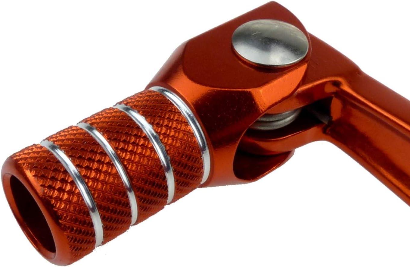 Enduro Sport Tuning Set Kickstarterhebel Fußschalthebel Klappbar Mit Haltekugel Feder Federspannung Einstellbar Farbe Orange Auto