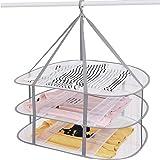 ECHILUCK 物干しネット 3段 平干しネット 型崩れ防止 折りたたみ ワイド グレー 洗濯ネット 洗濯干しネット 風通しの良いメッシュ生地 グレー 77 × 61cm