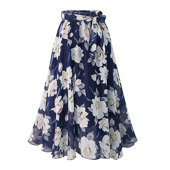 beautyjourney Falda de Gasa con Flores para Mujer Faldas ...