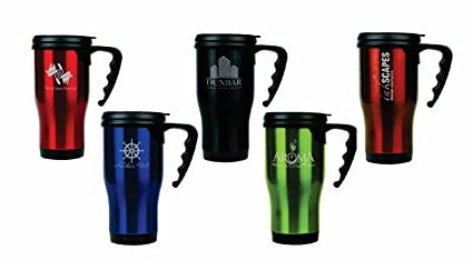 16 oz Personalized Custom Laser Engraved Stainless Steel Travel Mug  w/Handle - 5 Colors