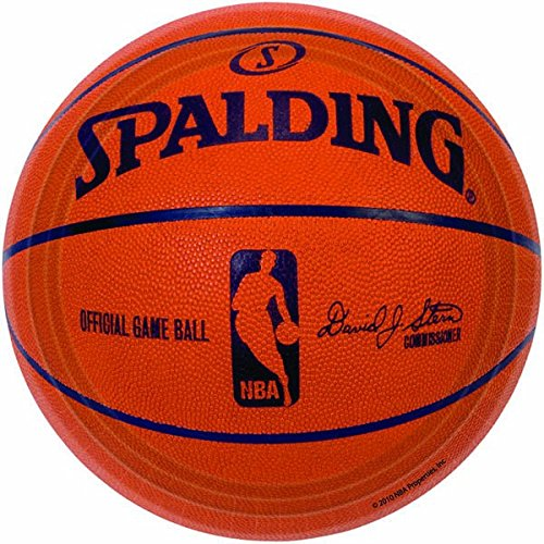 Sports and Tailgating NBA Party Spalding Basketball Round Plates Tableware, Paper, 7