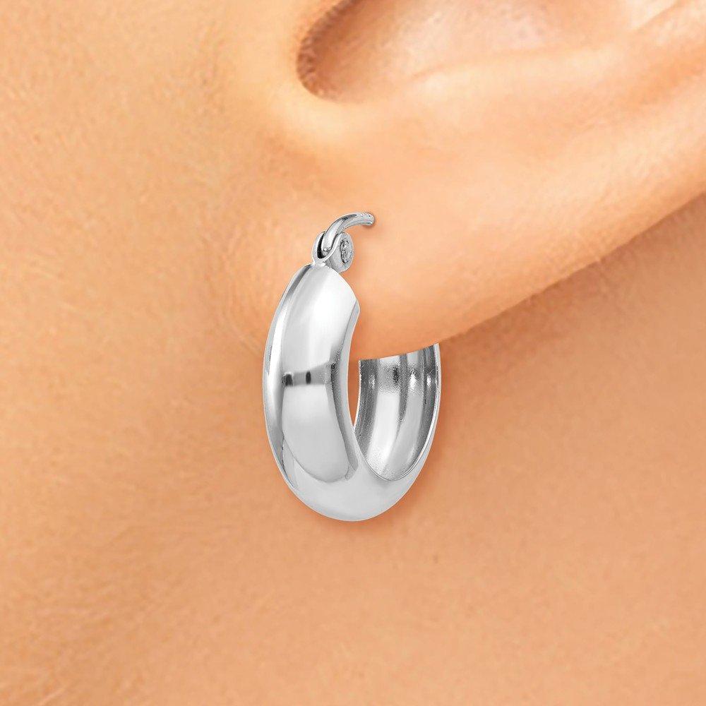 Mia Diamonds 14k White Gold 4mm Round Hoop Earrings