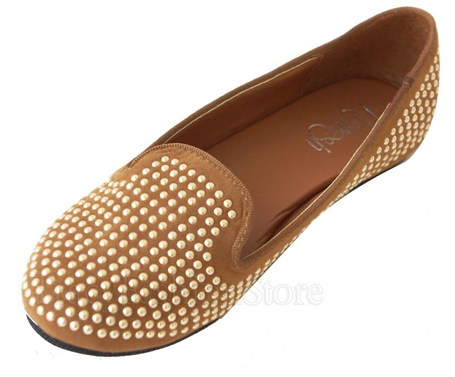Refresh Benin-09 slip on flat boat loafer suede with rounded silver pearl rivets shoes
