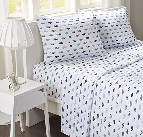4 Piece Girls Navy Blue Whales Sheet Full Set, Deep Blue Color Allover Sea Life Pattern Novelty Print Kids Bedding For Bedroom, Contemporary Casual Teen Underwater Adventures Themed, Microfiber