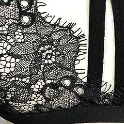 Sinfu Sexy Shirt Vest Women Floral Lace Bralette Bustier Crop Sheer Triangle Bra (Size:S, Black)