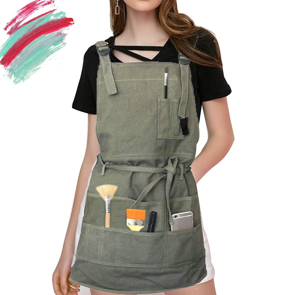 Artist Apron for Women/Men/Adult/Unisex, Painting Apron for Painters School Students Teacher, Canvas Apron with Pockets Slight Waterproof for Gardening, Utility or Work Apron (Green)