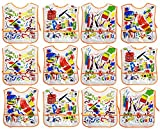 Set of 12 Kiddie Artist Smocks! 4 Assorted Bright and Beautiful Designs - 14''x16'' - Soft Vinyl - Pockets - Wipes Clean with Damp Cloth - Perfect for any Little Artist in Your Life!