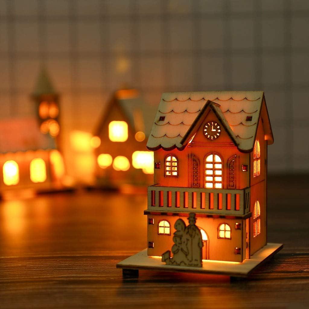 10cm Petite Maison en Bois LED Light House Cabane Exquise pour La D/écoration De Noce Jouet De No/ël JXQ-N Cabine Rougeoyante