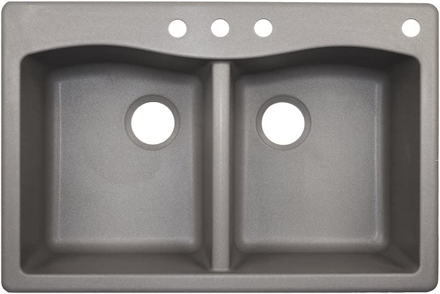 "Swanstone QZ03322ED.173-4 4-Hole Granite Kitchen Sink, 22"" x 33"", Metallico"