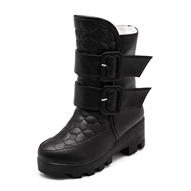 Women's Low-Top Hook-and-Loop Soft Material Kitten-Heels Round Closed Toe Boots