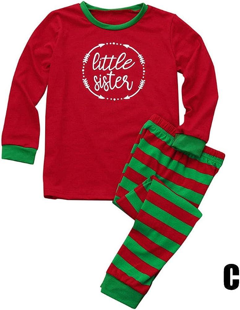 kebyy Family Matching Christmas Pajamas Long Sleeve Tops Striped Pants Sleepwear Set Parent-Child Homewear