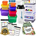 Efficient Nutrition, 7 Piece, Portion Control Containers Kit and Protein Shaker Cup with Complete Guide, 21 Day Planner, Recipe E-book, BPA Free, Color Coded Meal Prep System for Diet and Weight Loss