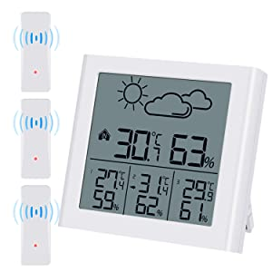 (Upgraded) Brifit Indoor Outdoor Thermometer with 3 Wireless Sensors, Weather Forecast, Humidity Gauge with LCD Backlight, Max/Min, Low Power Indicator, Wireless Thermometer for Office, Home