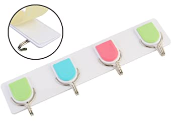 Zhenxin Self-Adhesive Plastic Wall Hanging Hooks Hanger Stand With 4 Hooks, 1 Piece, Load Capacity 4Kg
