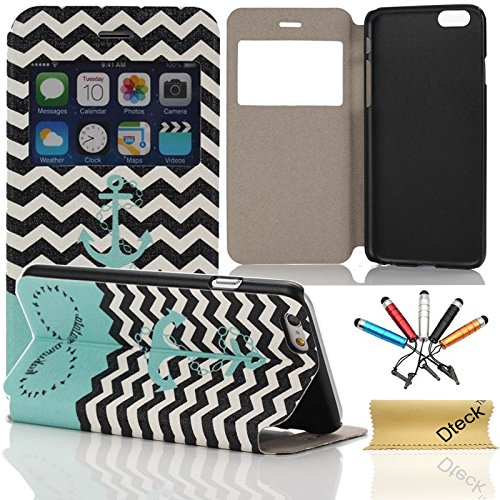 iPhone 6 Case,Dteck(TM) Simplicity Portable Vintage Colorful Design Flip Stand Synthetic Leather Case [Smart Window View] for Apple iPhone 6 6s 4.7 inch(Anchor) - Portable Leather Case