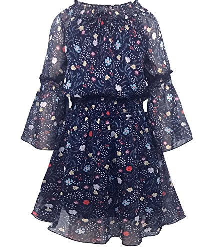 Smukke, Big Girls Beautiful Printed Dress (with Options), 7-16 (14, Navy Multi) ()