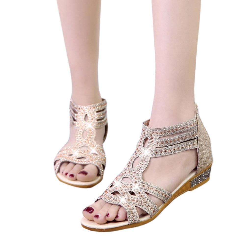 Sommer Sandalen,Resplend Frauen Sandalen mit Keilabsatz Mode Hollow Fisch Mund Hohl Roma Schuhe Gladiator Casual Sandalen Flip-Flop Schuhe40(Asian40=EU39)|Beige