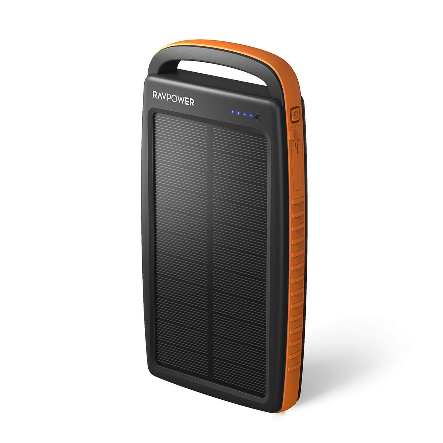 Solar Charger 20000mAh RAVPower Portable Charger Solar Power Bank with Dual 2.4A Outputs, External Battery Pack with Flashlight for Smartphones, Tablets and More(Orange)