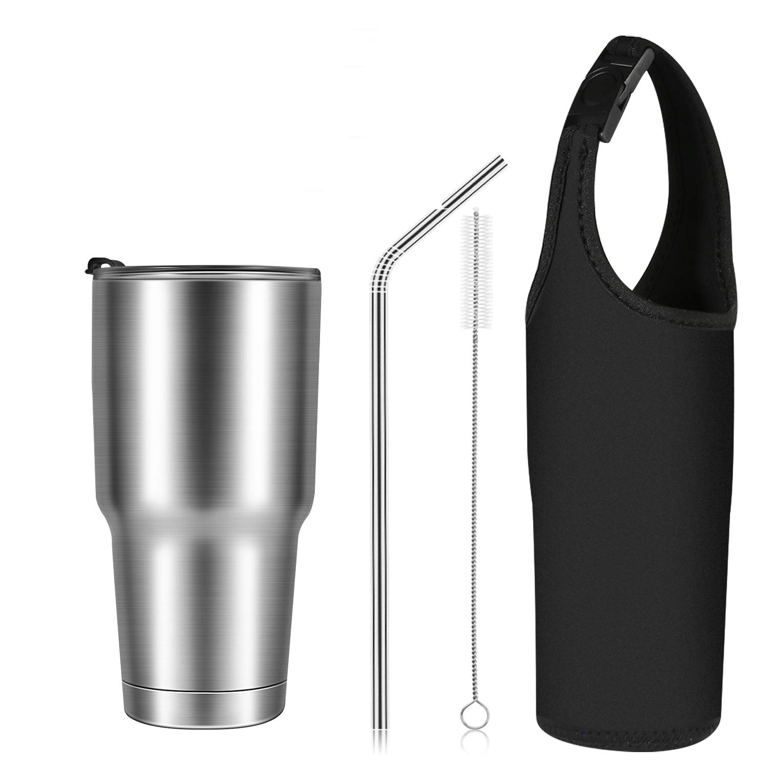 Stainless Steel Tumbler Double Wall Vacuum Insulated Rambler Large Water Bottle Coffee Cup Travel Mug for Ice Drink & Hot Beverage Flask for Home Office School 30 oz Mugs with Stainless Straws, Lid