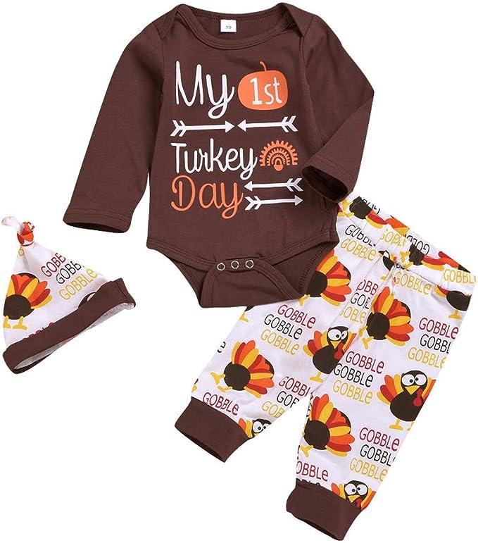Mi Primera Navidad 2 Piezas Traje para Beb/é Reci/én Nacido Conjunto de Mameluco de Manga Larga y Pantalones Ropa Pelele Pijama Unisex para Ni/ño Ni/ña 0-18 Meses